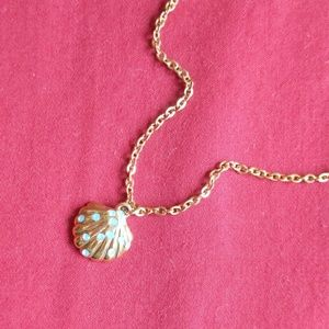 Rare Coach Paved Shell Charm Gold Plated Necklace